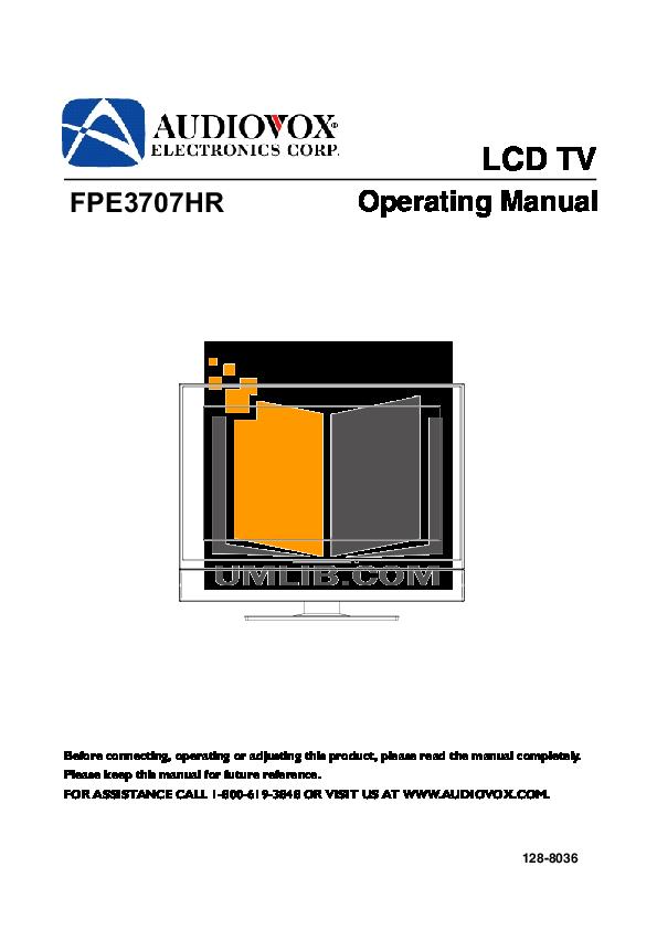 pdf for Audiovox TV FPE3707HR manual