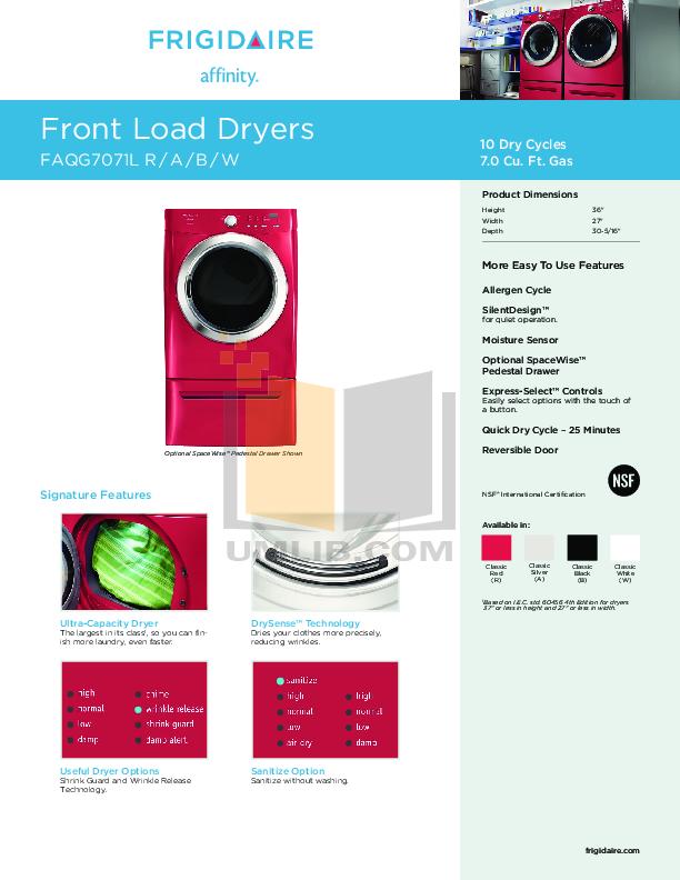 pdf for Frigidaire Dryer Affinity FAQG7071L manual