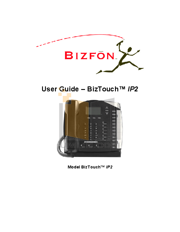 pdf for Bizfon Telephone BizTouch IP2 manual
