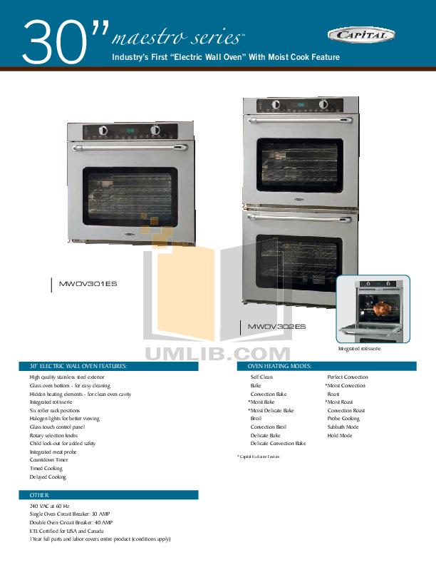pdf for CapitalCooking Oven Maestro Series MWOV301ES manual