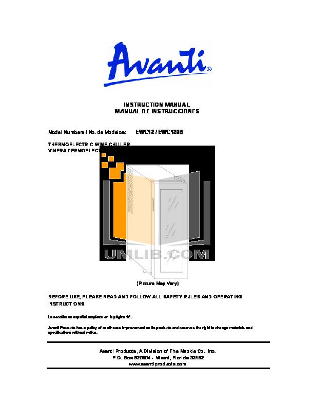 pdf for Avanti Refrigerator EWC120B manual
