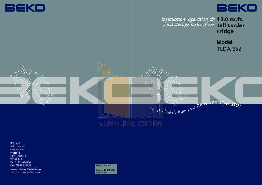 pdf for Beko Freezer TLDA662 manual