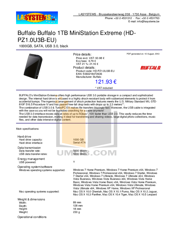 pdf for Buffalo Storage HD-PZ1.0U3B manual