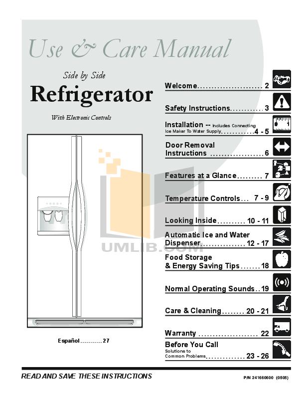 pdf for Frigidaire Refrigerator PLRU1777DS0 manual