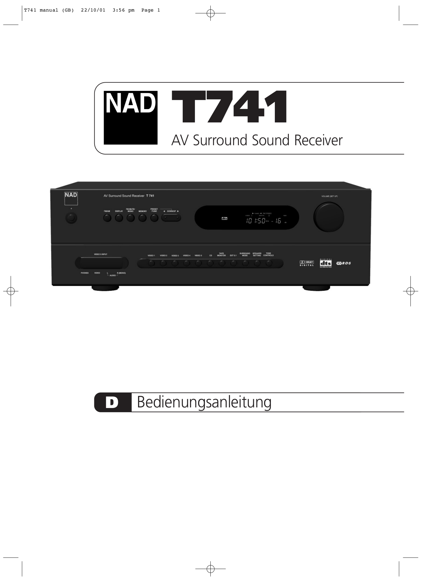 pdf for NAD Receiver T741 manual