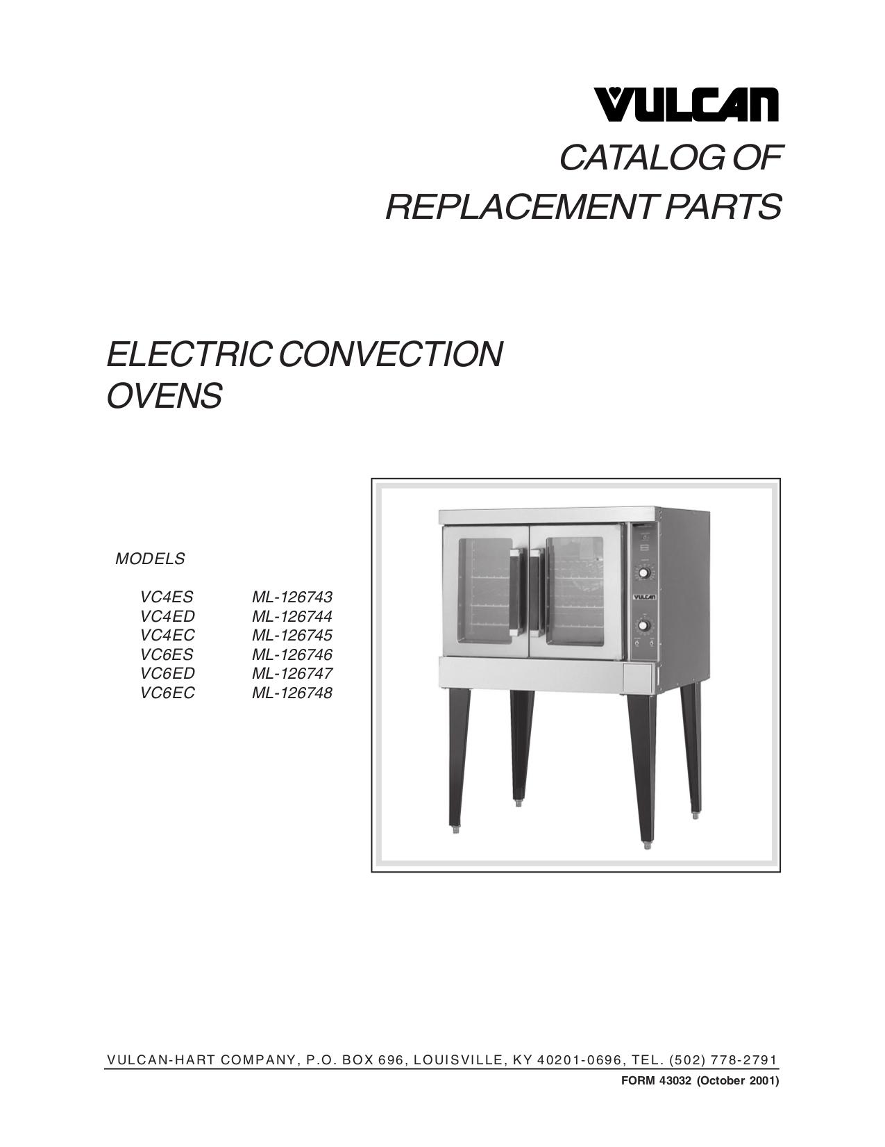 pdf for Vulcan Oven VC4EC manual