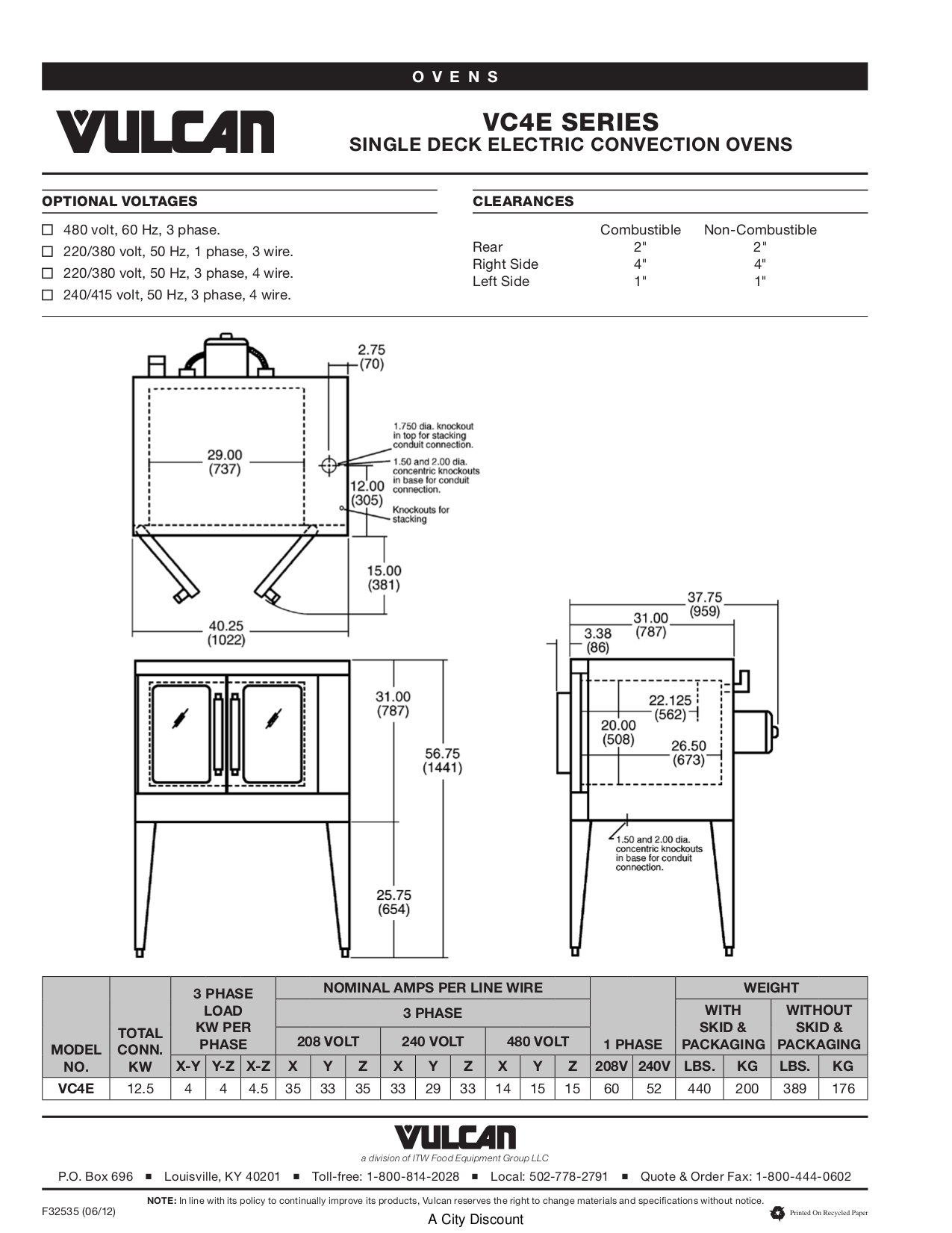 Vulcan Oven VC4EC pdf page preview