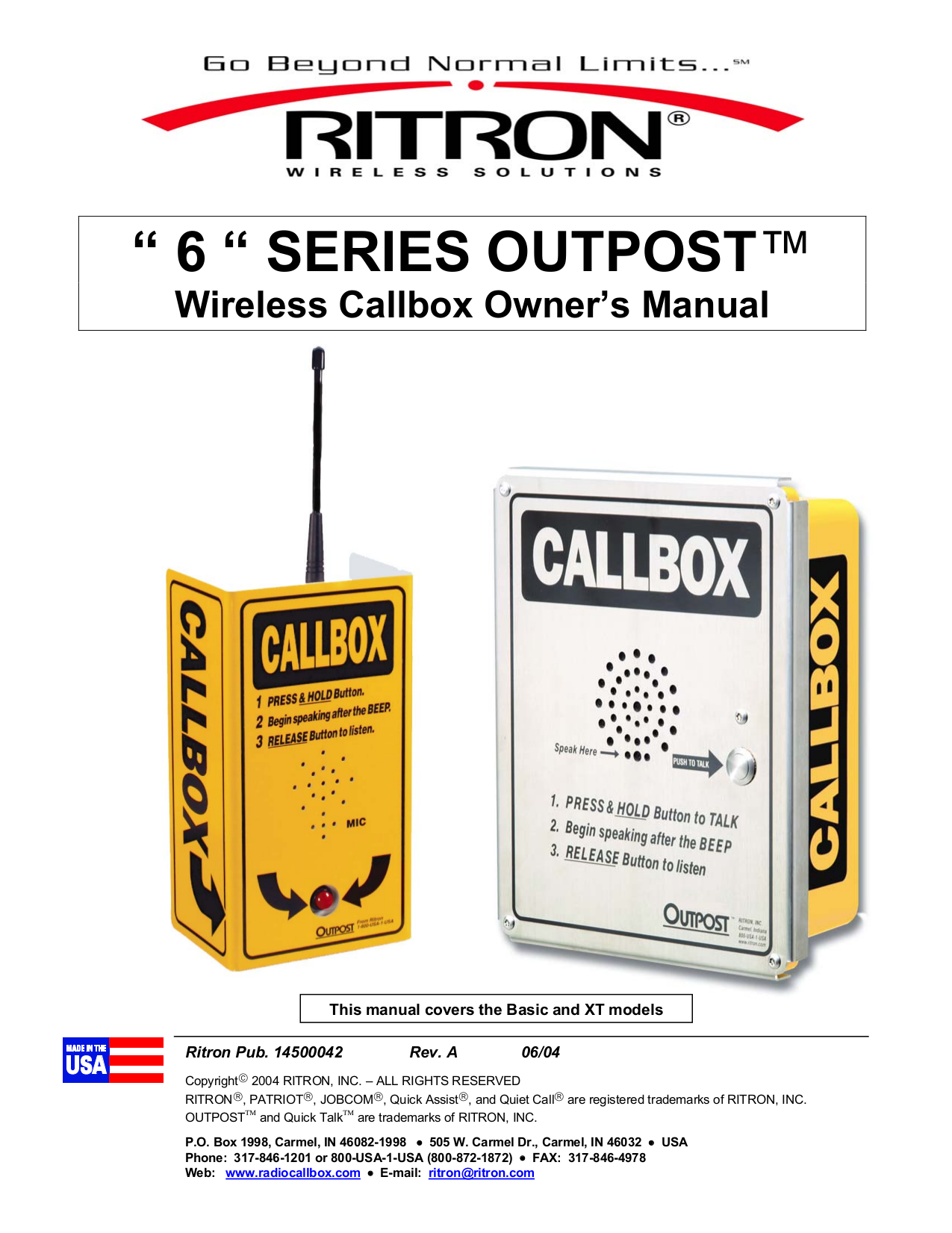 pdf for Ritron Other Outpost XT RQX-156 XT Call Boxes manual