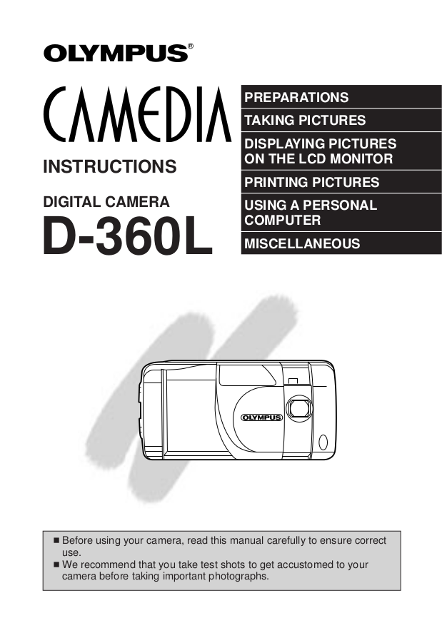Download free pdf for olympus camedia d-360l digital camera manual.