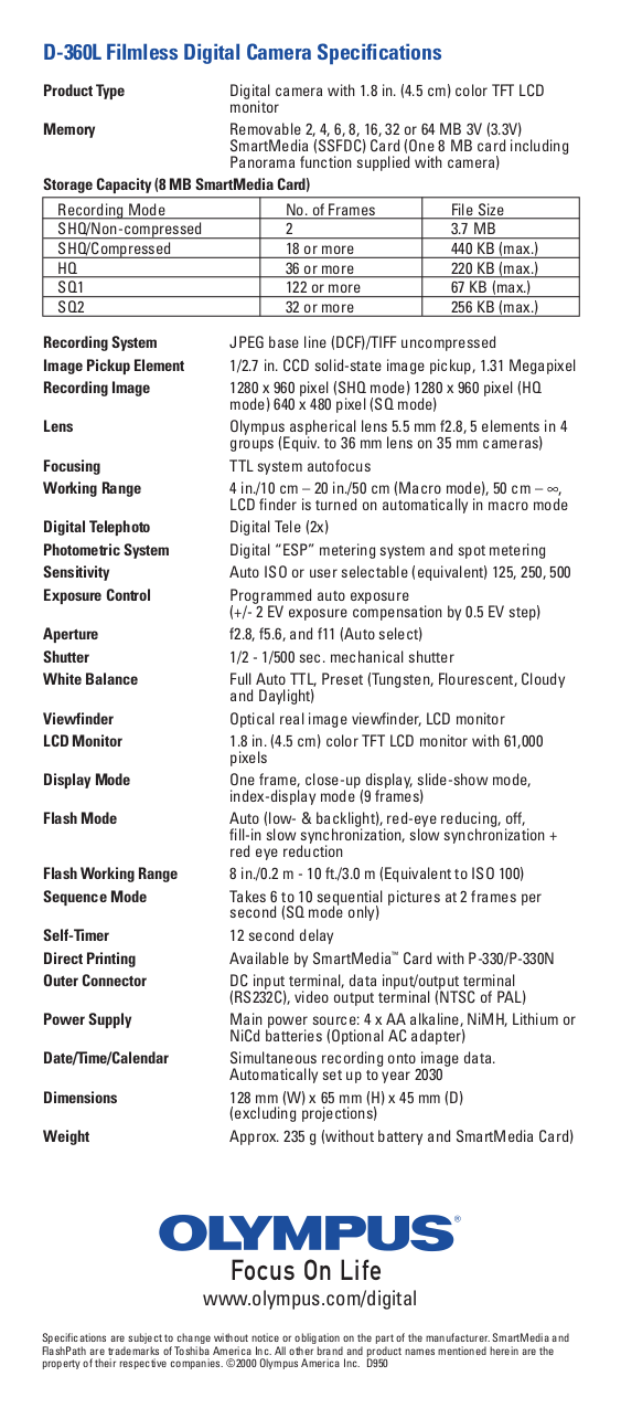 Olympus d-360l digital camera instruction manual book spanish.
