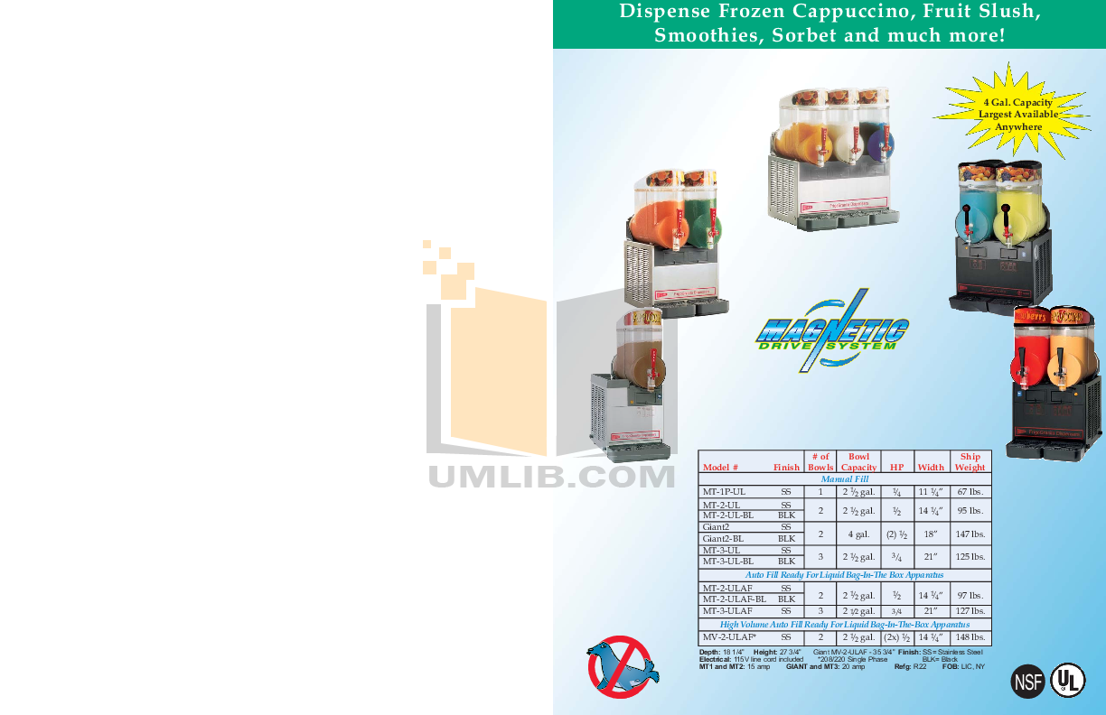 Cecilware Other MV-2-ULAF Dispensers pdf page preview