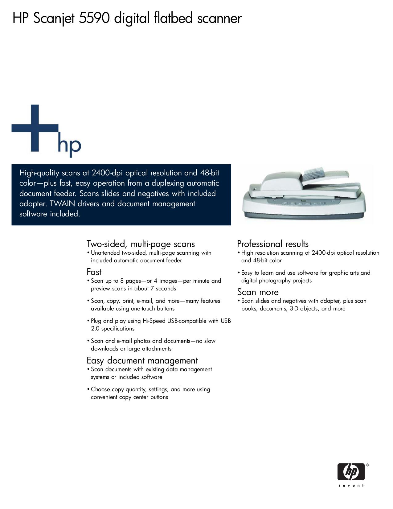 Download free pdf for HP Scanjet 5590 Scanner manual