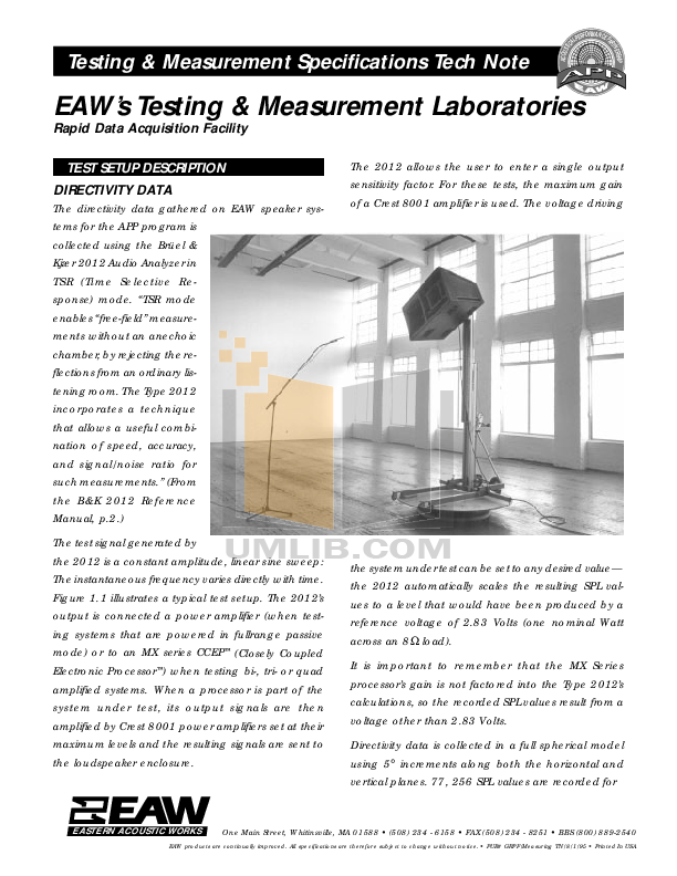 pdf for Eaw Speaker System KF853 manual