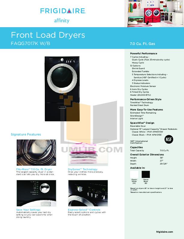pdf for Frigidaire Dryer Affinity FAQG7017K manual
