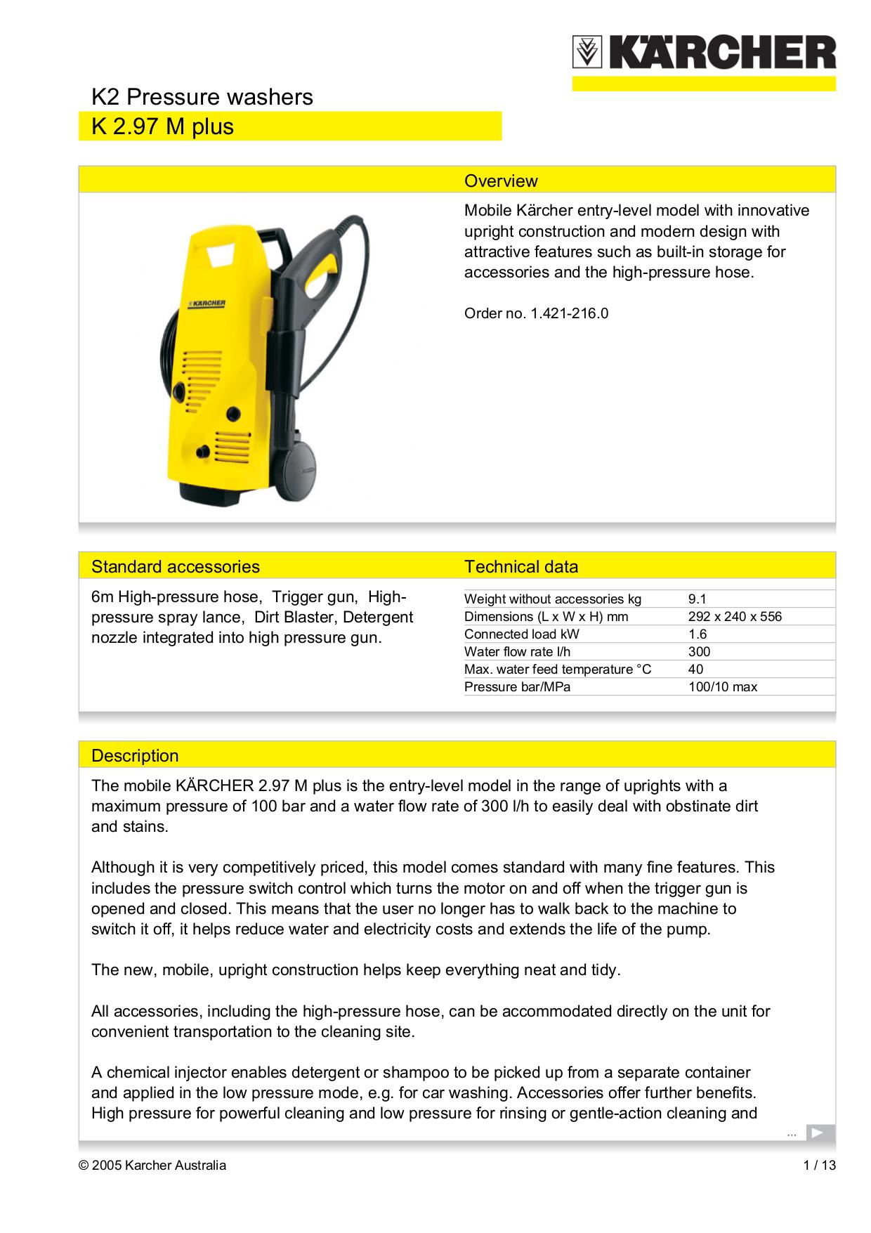 pdf for Karcher Other K 2.97 M Pressure Washers manual