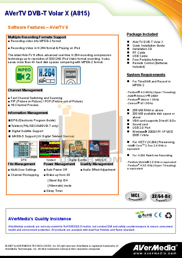 Avermedia Other AVerTV DVB-T USB TV Tuner Cards pdf page preview