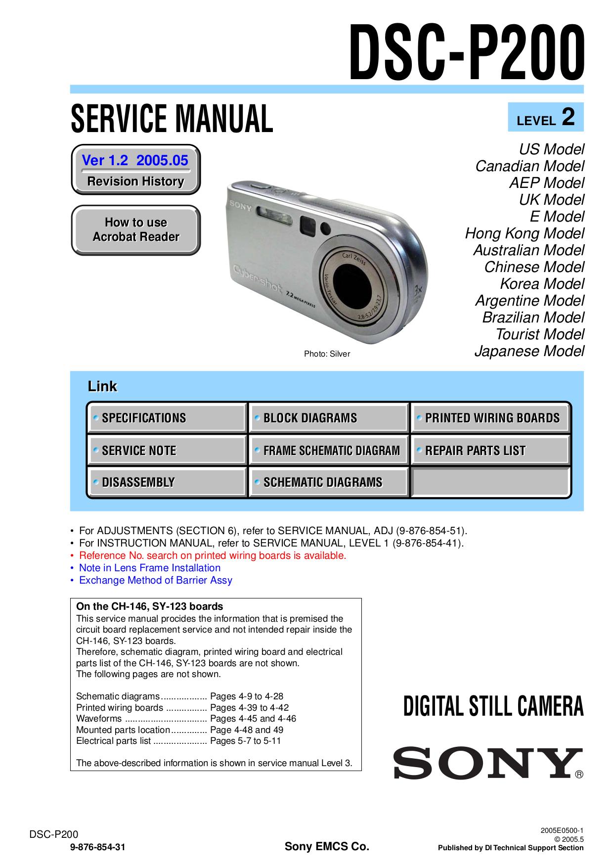 Download Free Pdf For Sony Cybershotcyber Shot Dsc P200 Digital Wiring Diagram Camera Manual