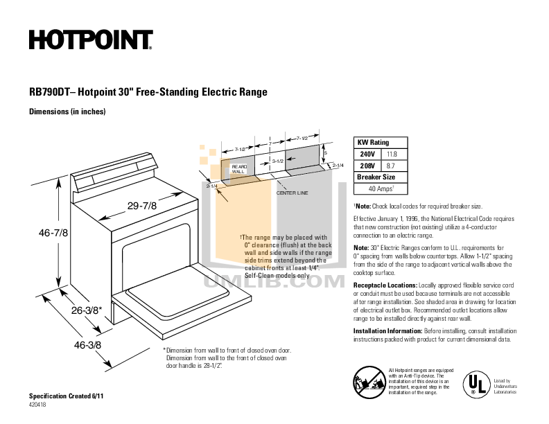 pdf for Hotpoint Range RB790DT manual