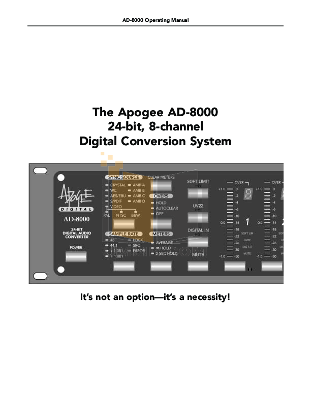 Apogee Other AD-8000 Converters pdf page preview