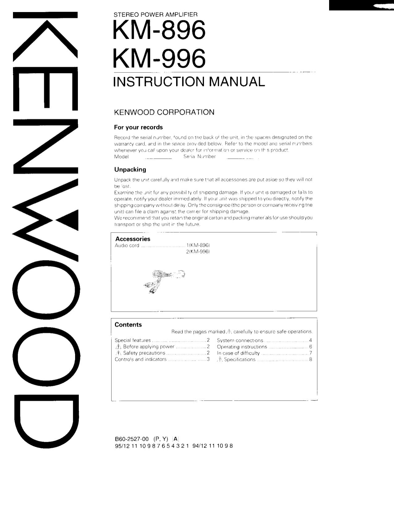 pdf for Kenwood Amp KA-996 manual