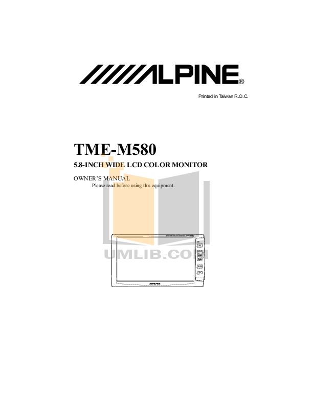 pdf for Alpine Car Video TME-M580 manual