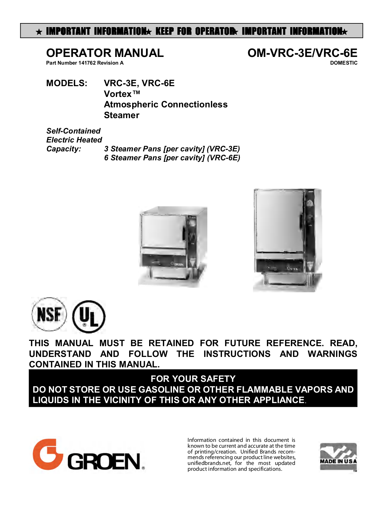 pdf for Randell Other VRC-3E Steamers manual