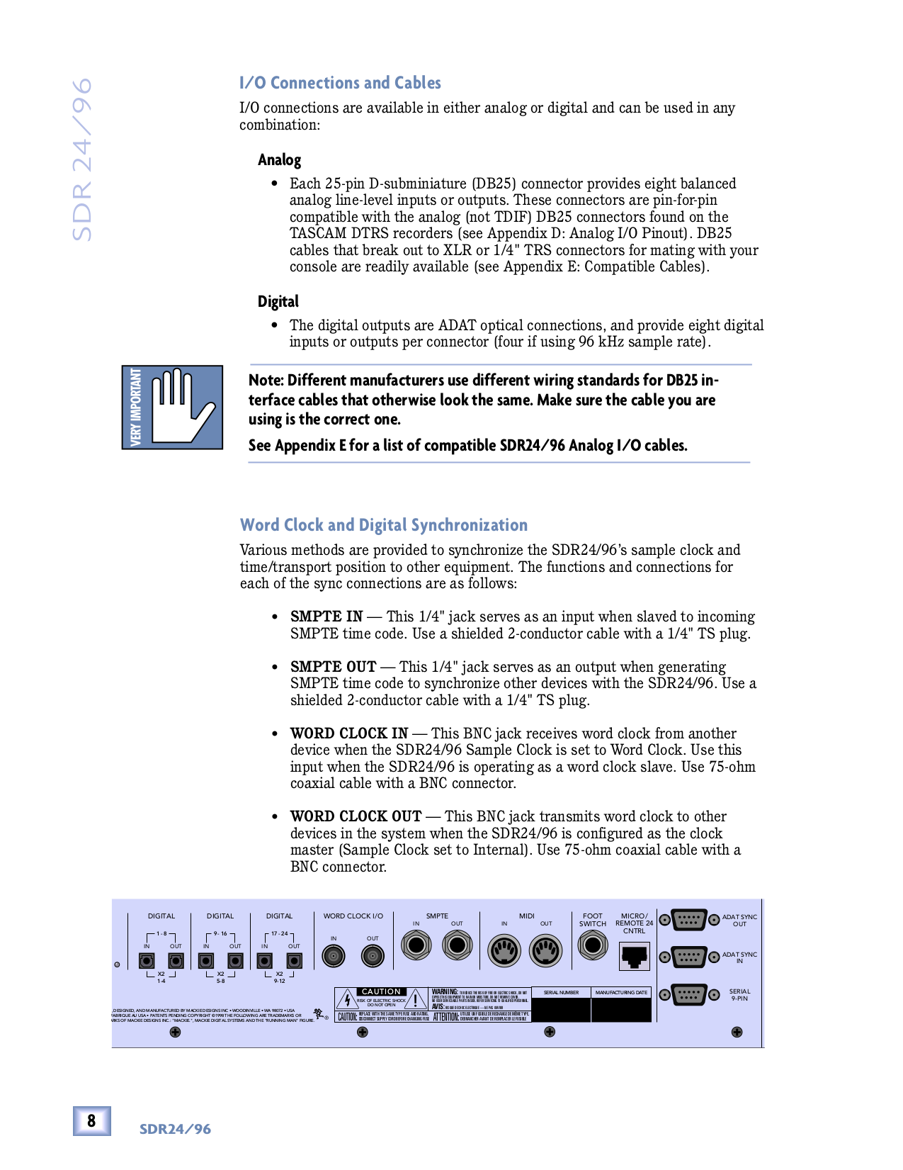 PDF manual for Mackie Other SDR 24 Digital Recorders