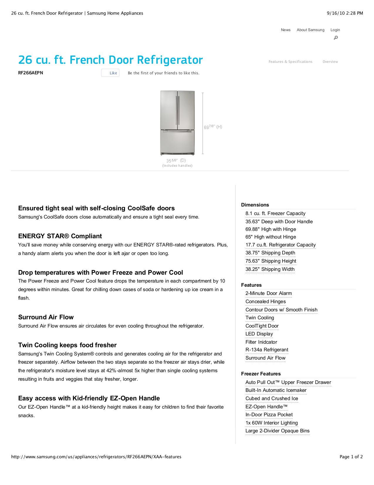 Samsung rf266aepn/xaa service manual: samsung: 0912345266020.