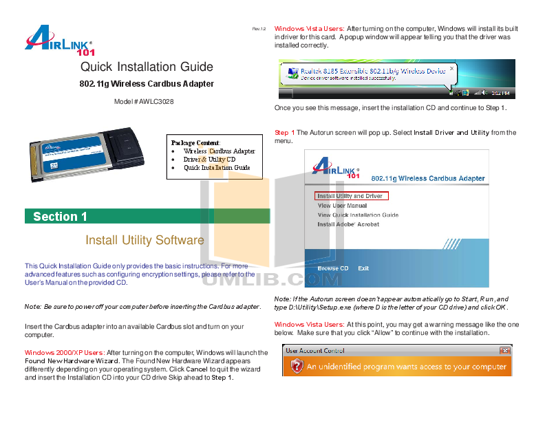 pdf for Airlink Other AWLC3028 Adapters manual