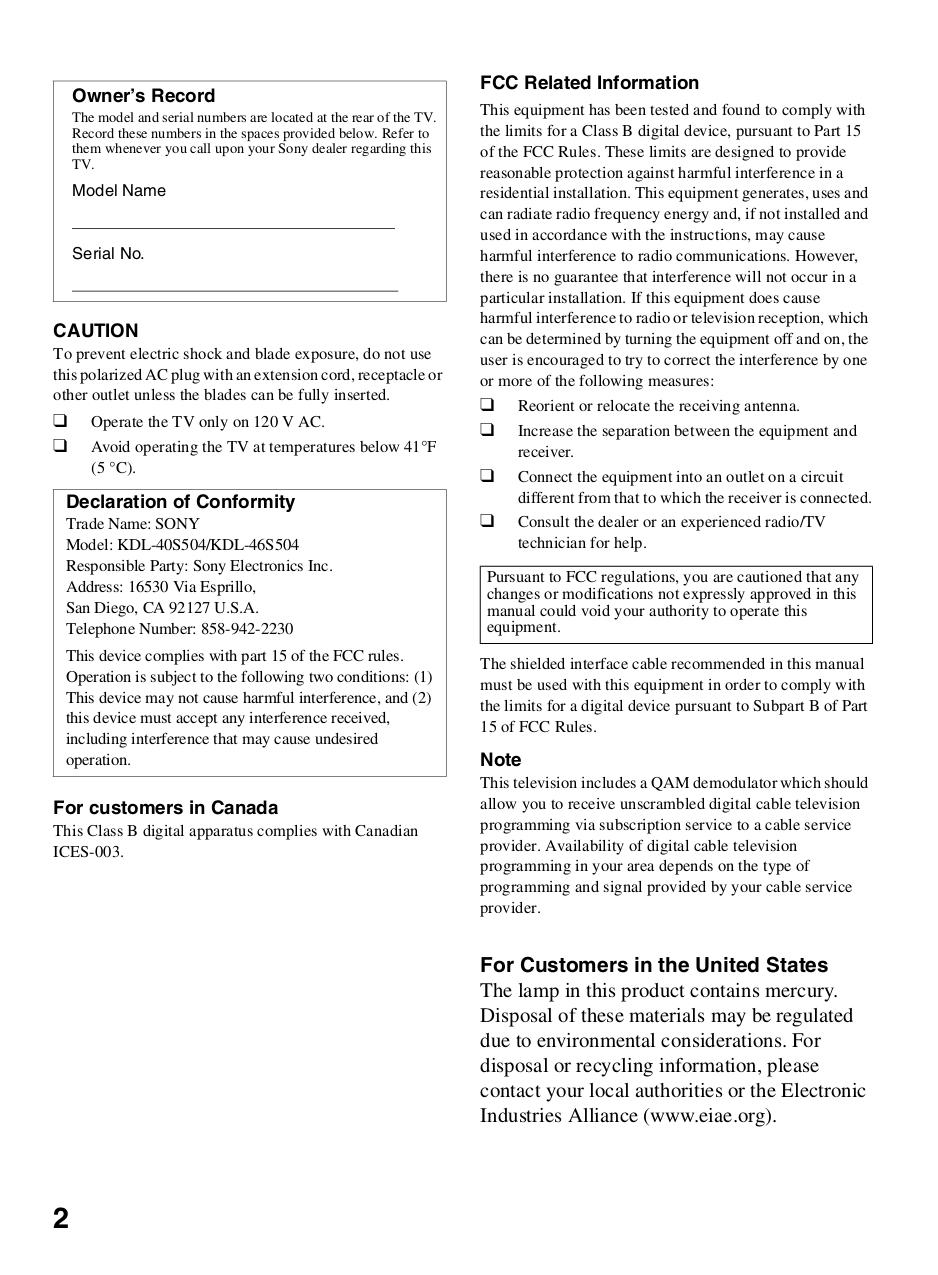 PDF manual for Sony TV BRAVIA KDL-40S504