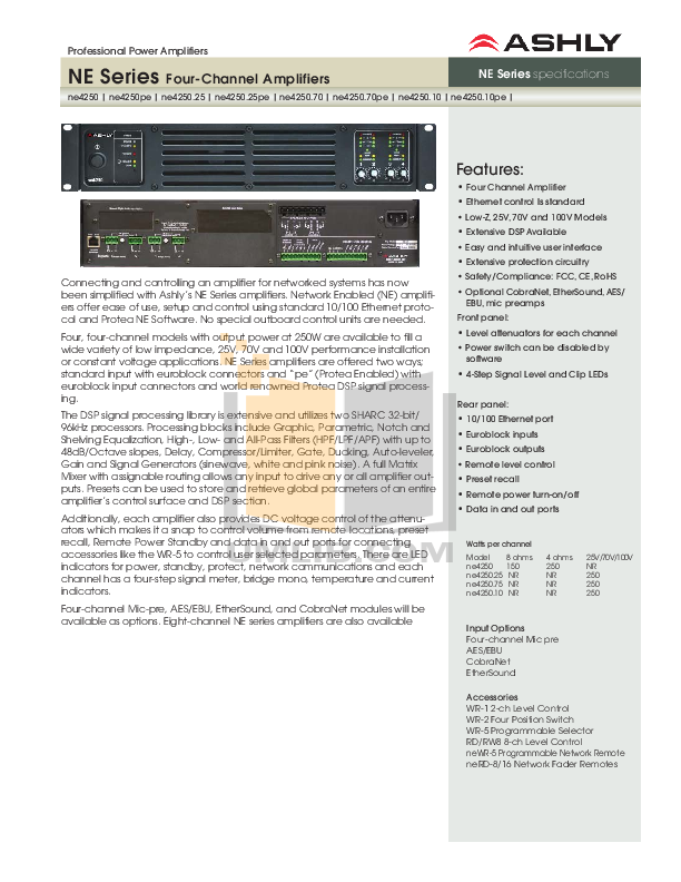pdf for Ashly Amp NE4250 manual