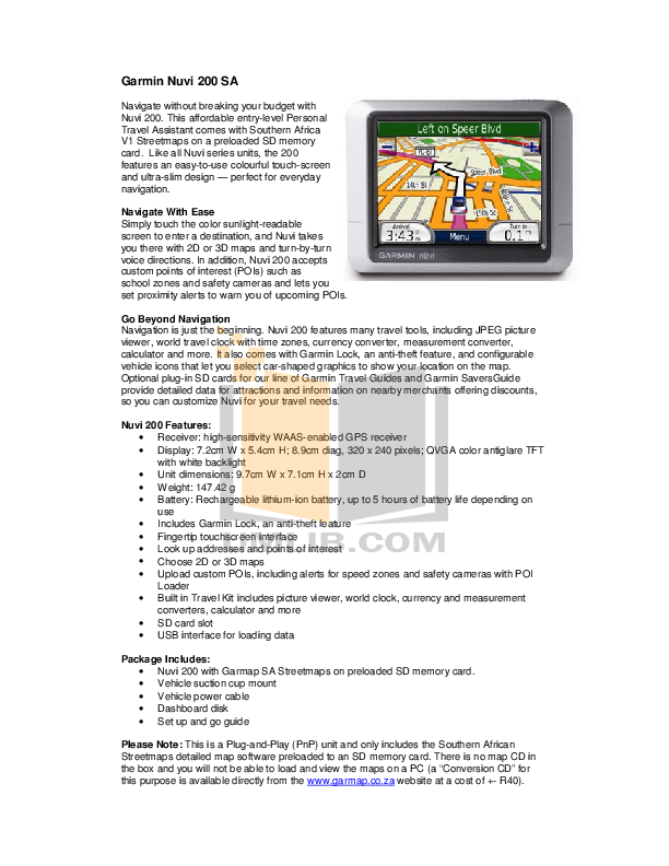Download free pdf for Garmin Nuvi 310 GPS manual on