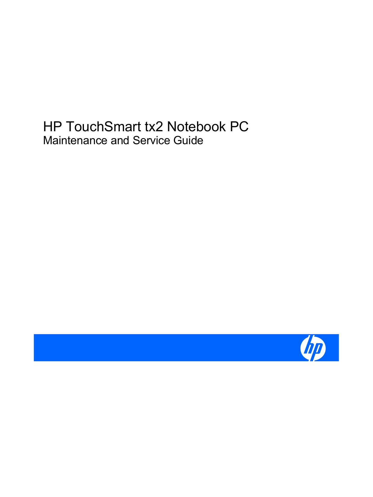 pdf for HP Laptop TouchSmart tx2-1275 manual