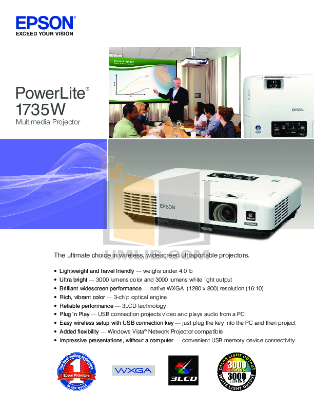 pdf for Epson Projector PowerLite 1735W manual