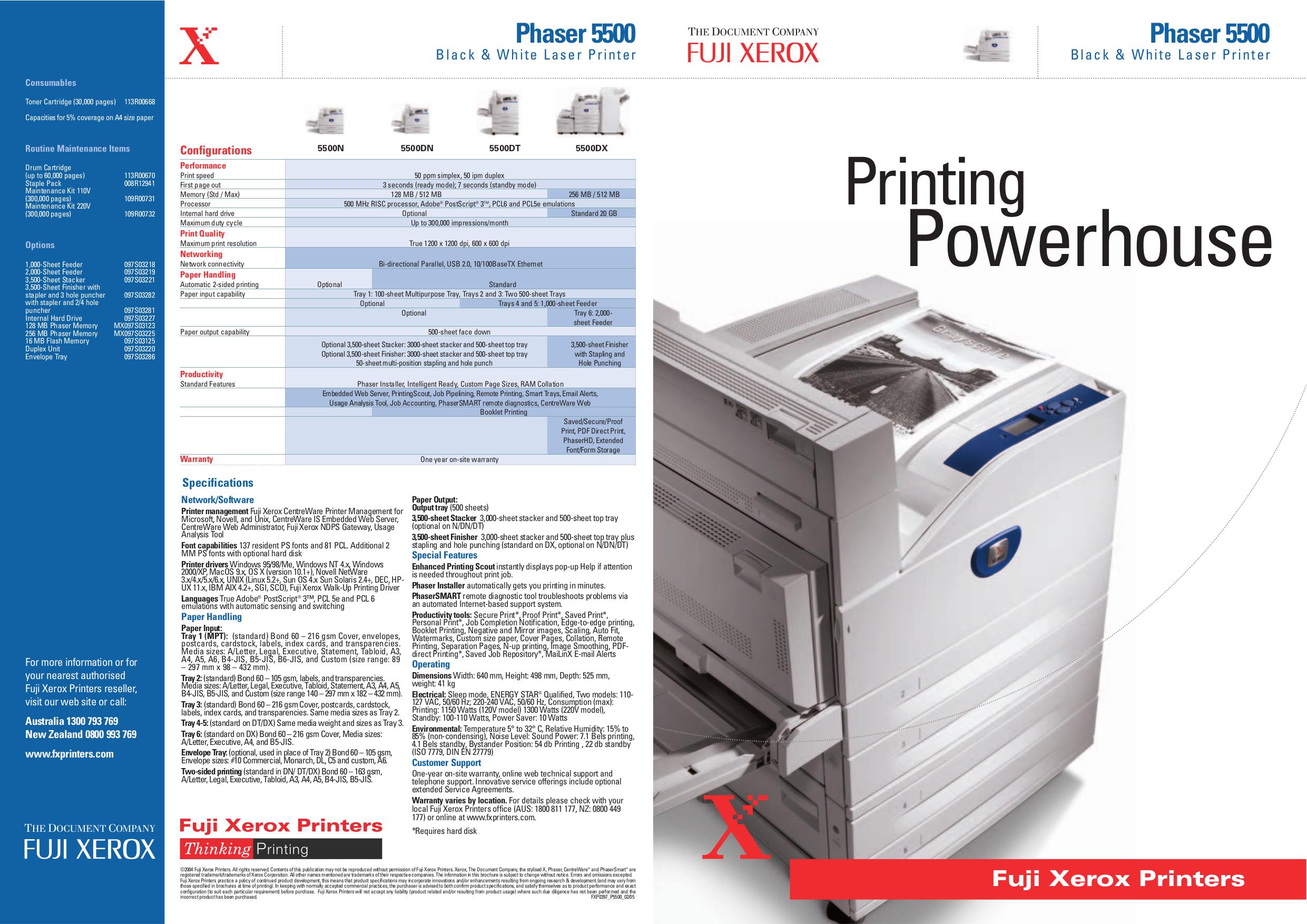 pdf for Xerox Printer Phaser 5500 manual