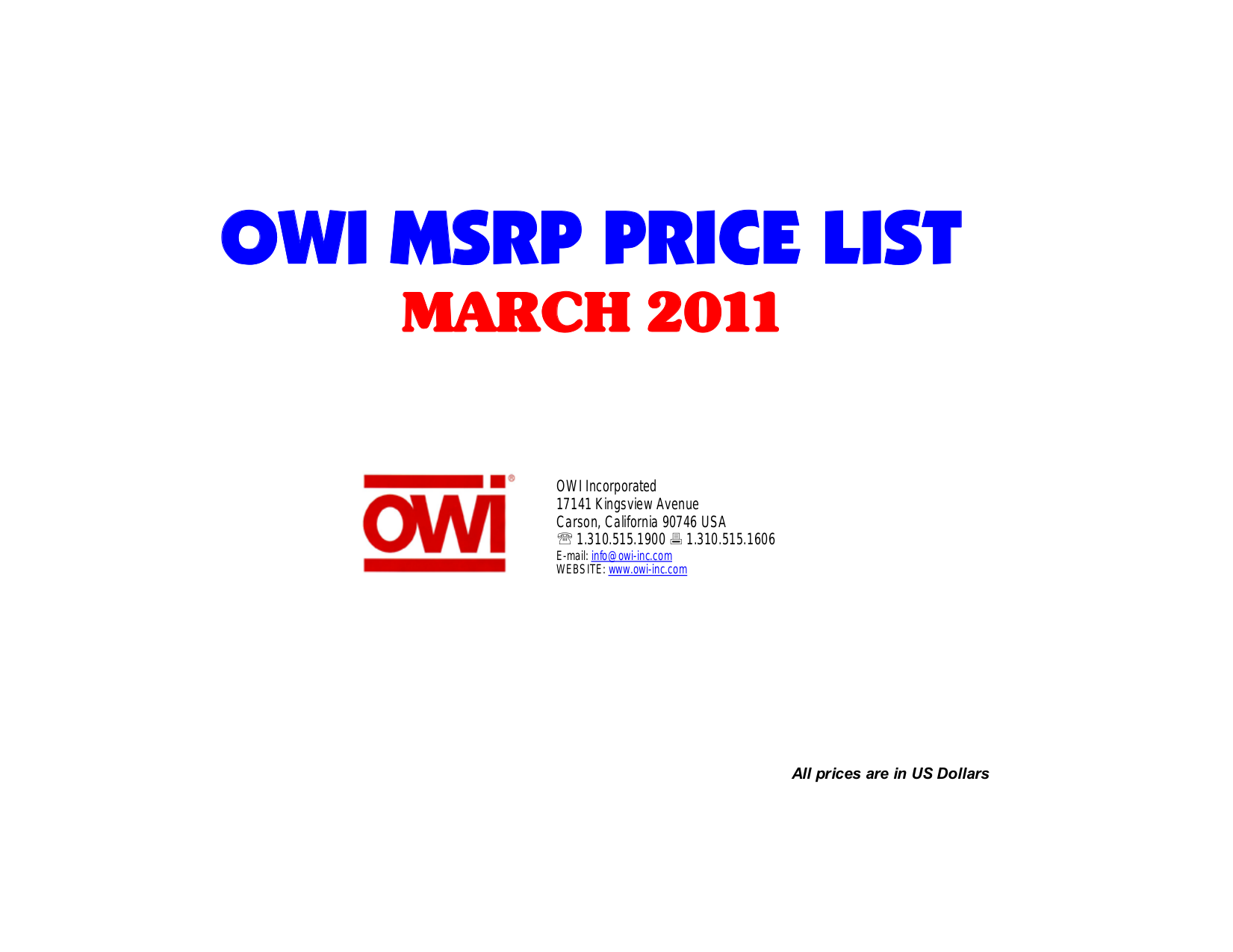 pdf for Owi Speaker ICT62A manual