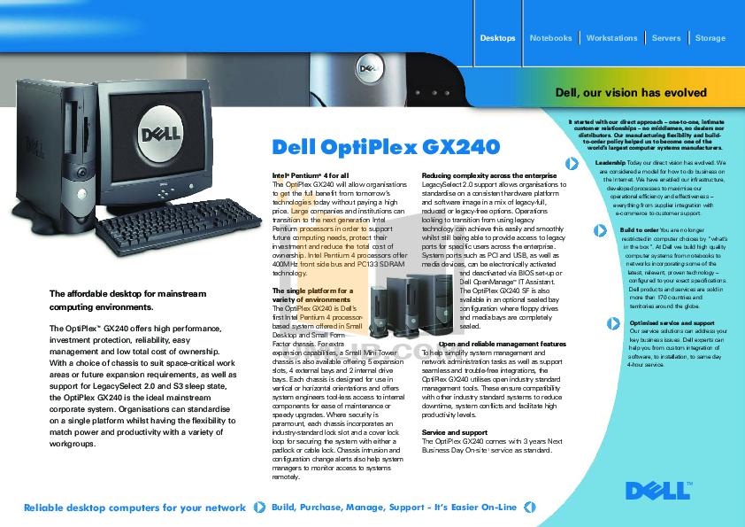 download free pdf for dell optiplex gx240 desktop manual rh umlib com Dell Optiplex GX250 Dell Optiplex GX620