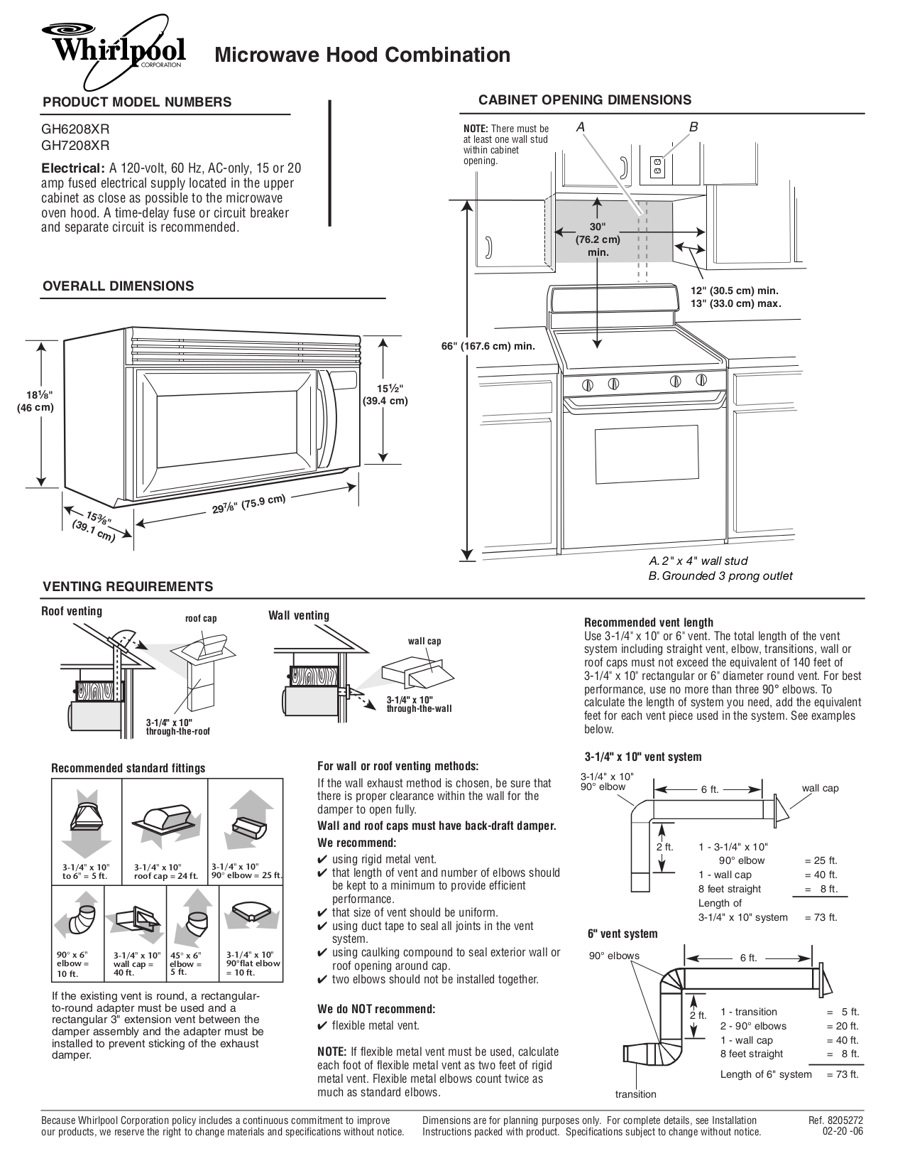 pdf for Whirlpool Microwave GH6208XR manual