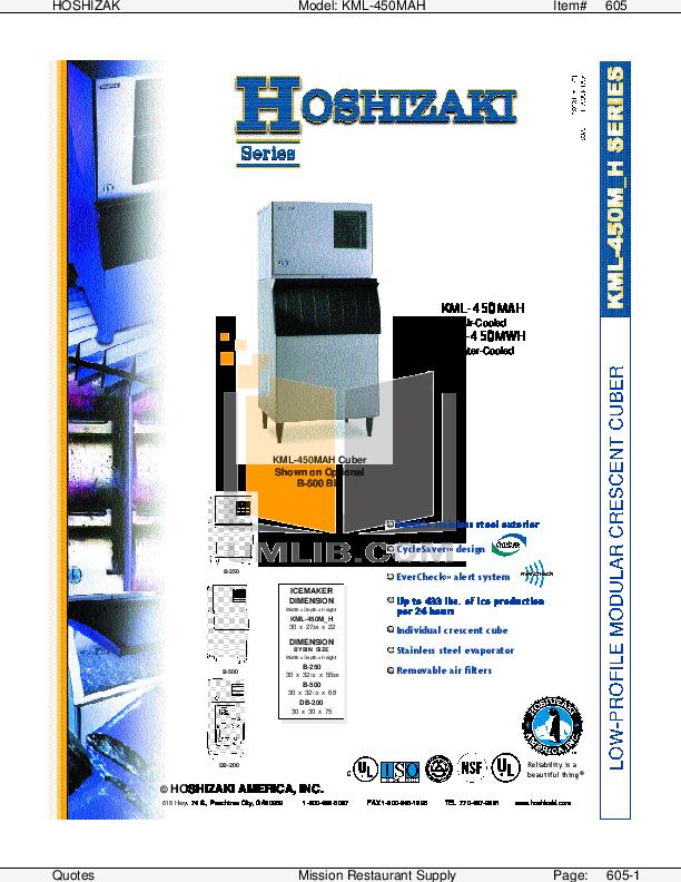 pdf for Hoshizaki Other KML-450MAH Cuber Machines manual