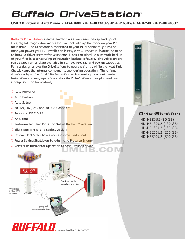 pdf for Buffalo Storage HD-HB80U2 manual