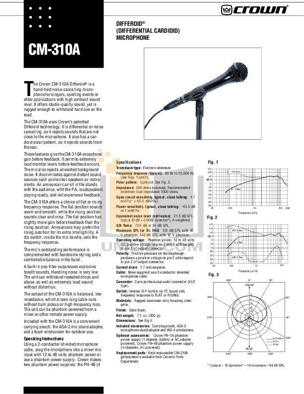 pdf for Crown Other CM-310A Microphones manual