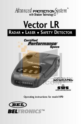 pdf for Beltronics Radar Detector Vector 970 manual