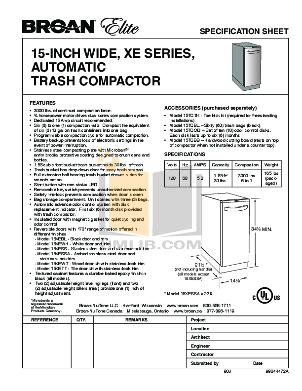 pdf for Broan-NuTone Other XE Series 15XEBL Trash Compactors manual