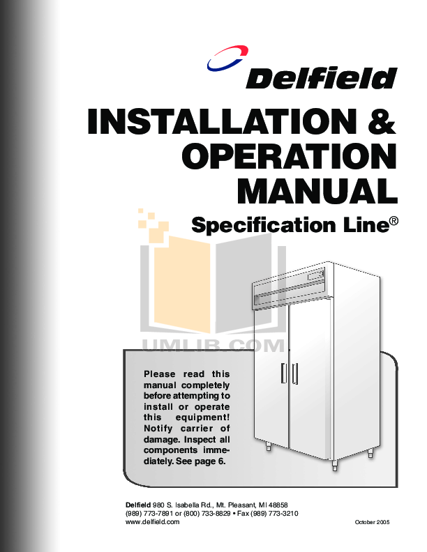 pdf for Delfield Refrigerator SSW1-G manual