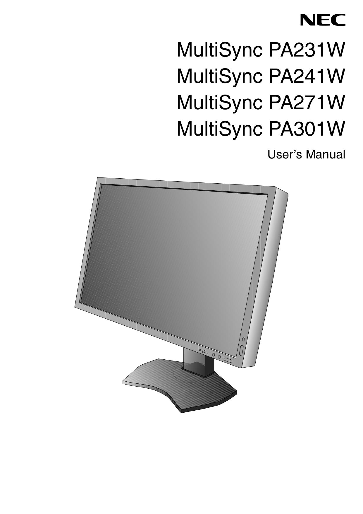 pdf manual for nec monitor multisync 125
