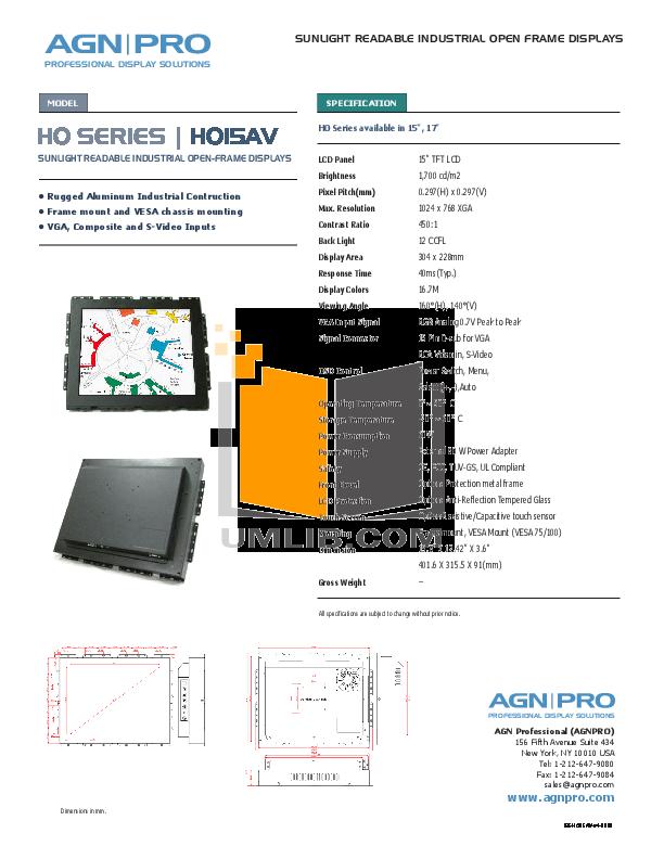 pdf for Agnpro Monitor HO-15AV manual