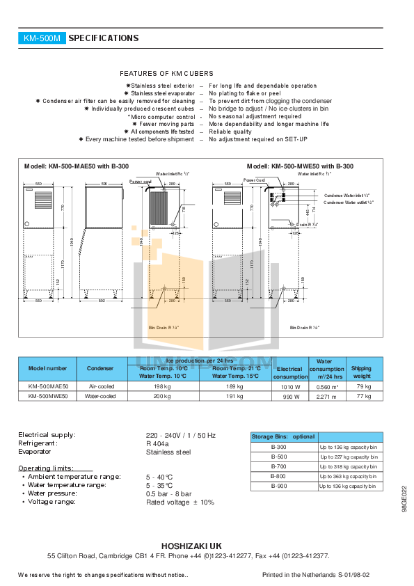 Hoshizaki Other KM-500MWE50 Cuber Machines pdf page preview
