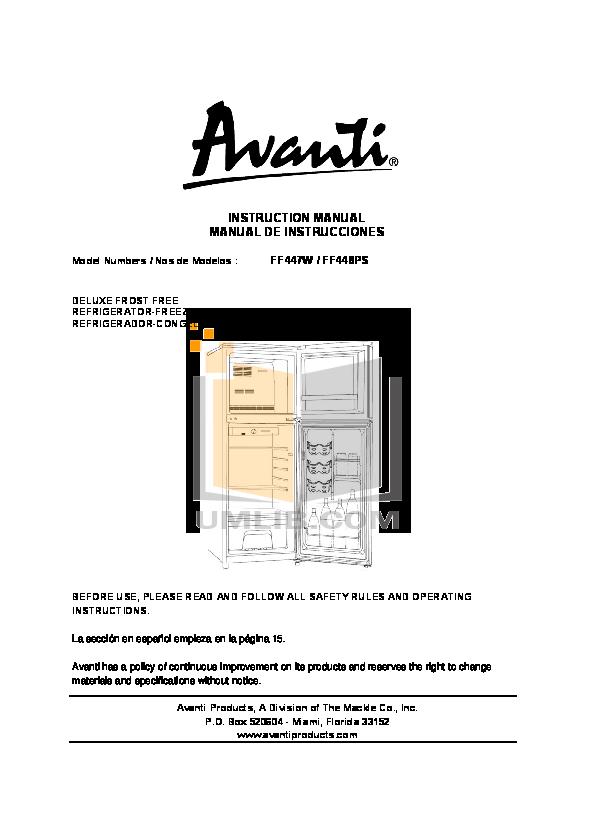 pdf for Avanti Refrigerator FF448PS manual