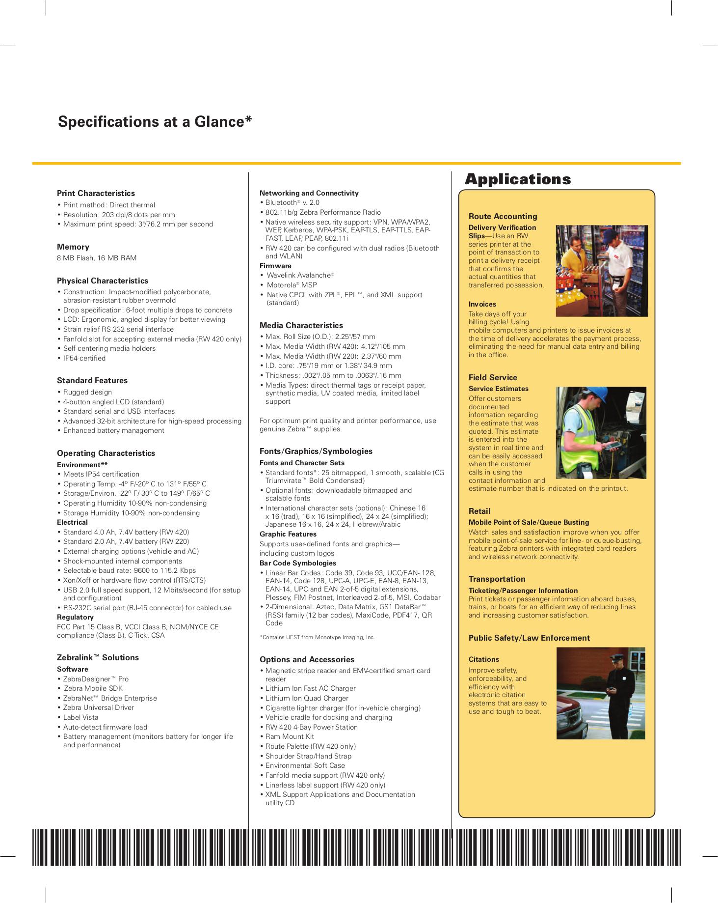 PDF manual for Zebra Printer RW420