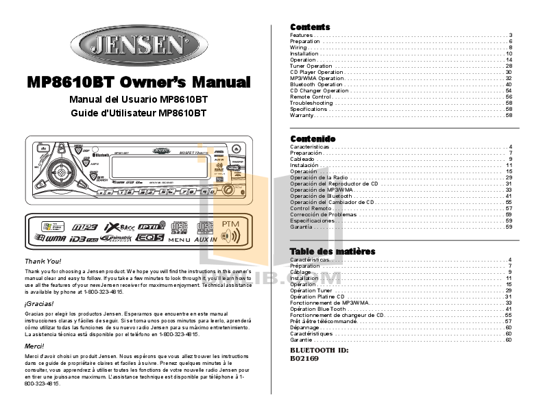 Audiovox Car Receiver MP8610BT pdf page preview